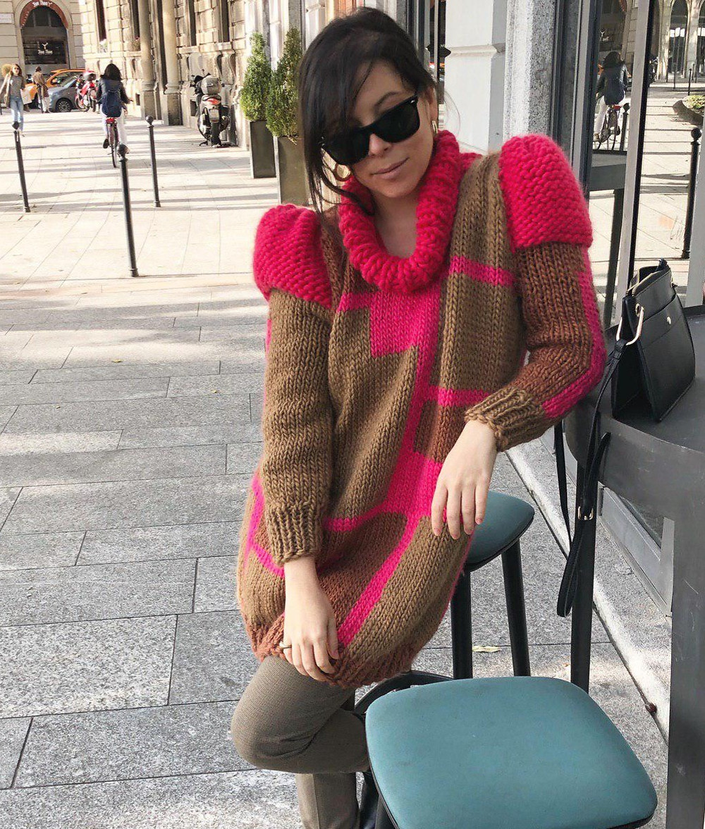 Pink brown contemporary knitwear