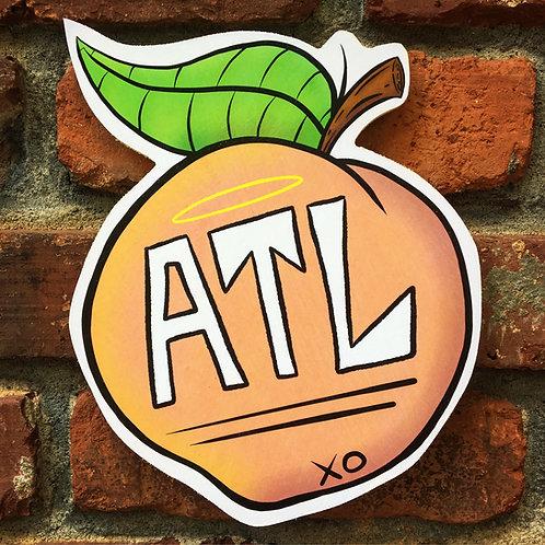 ATL Peach Woodcut