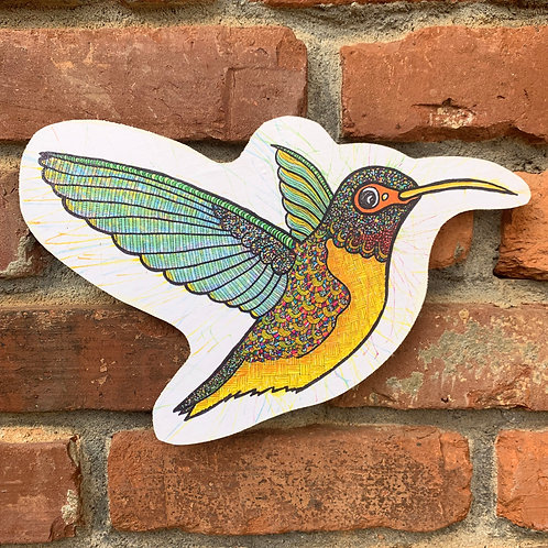 Spotted Hummingbird Woodcut