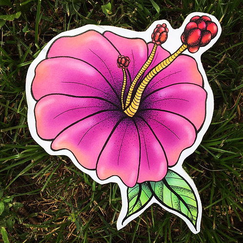 Hibiscus Flower Woodcut