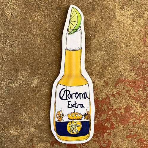 Corona Extra Bottle Woodcut