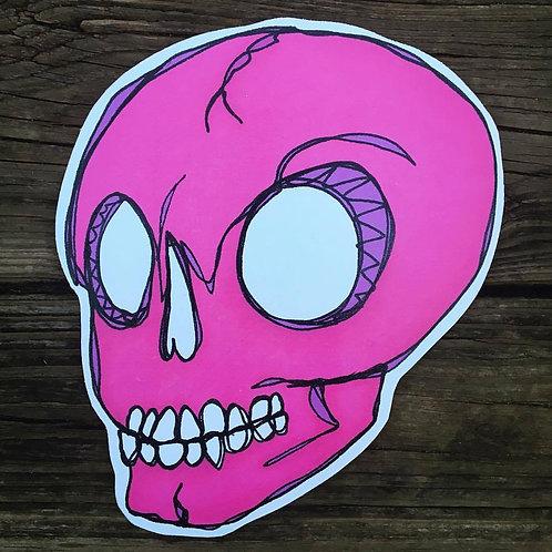 Pink Sugar Skull Woodcut