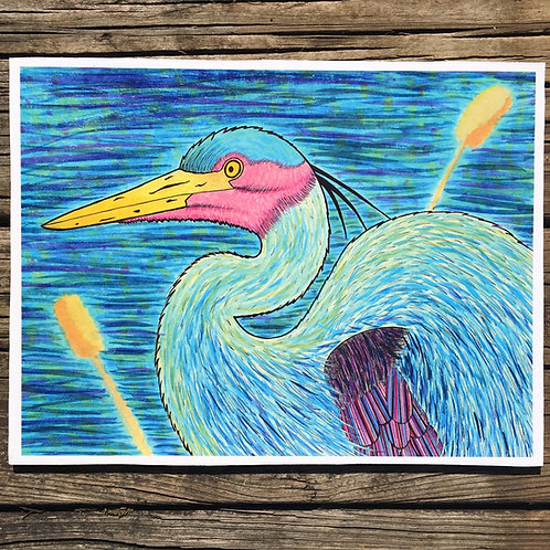 Great Blue Heron Woodcut