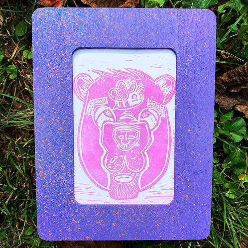 Bear with Bee Frame Pink/Purple