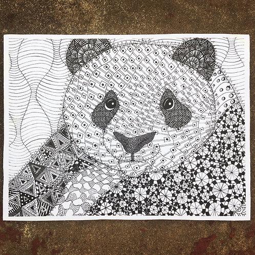 Panda Woodcut