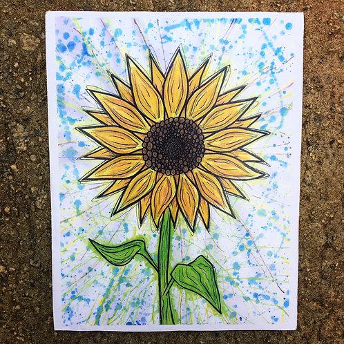 Splattered Sunflower Woodcut