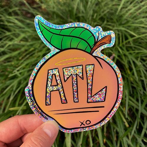 ATL Peach Glitter Stickers