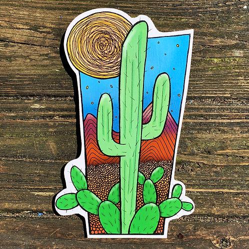 Lit Cactus Woodcut