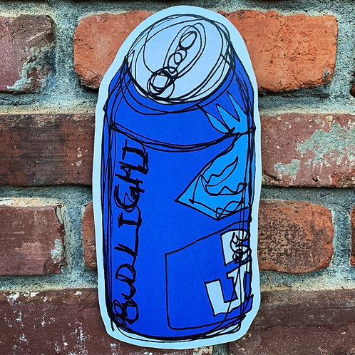 Bud Light Can Woodcut