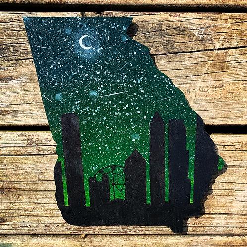 Starry Atlanta Skyline Woodcut