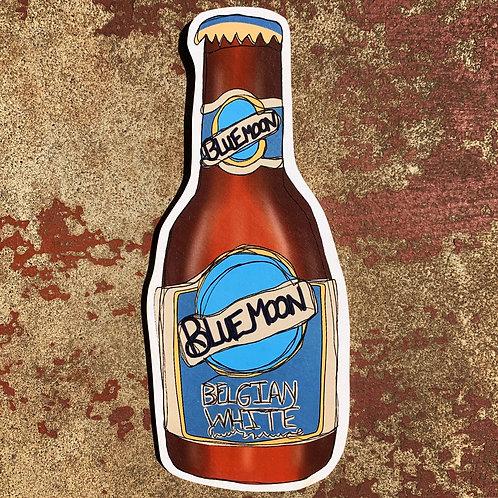 Blue Moon Bottle Woodcut
