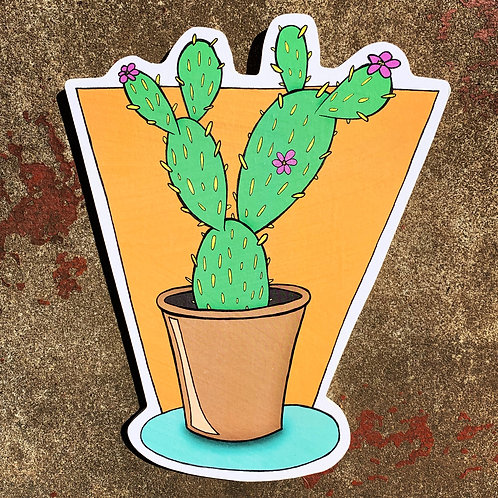 Cacti with Flowers Woodcut