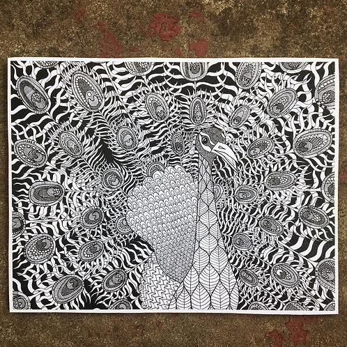 Peacock Woodcut