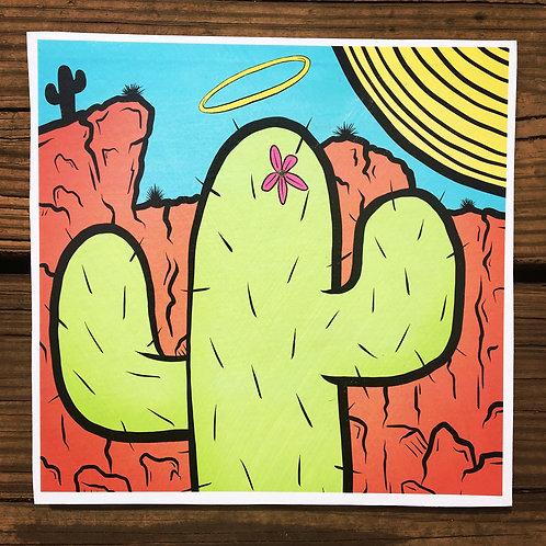 Precious Cactus Woodcut