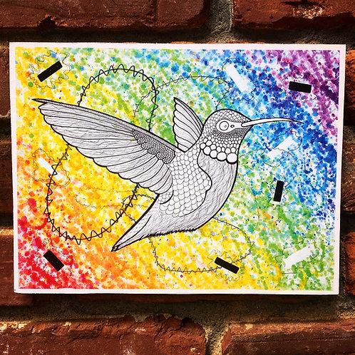 Rainbow Hummingbird Woodcut