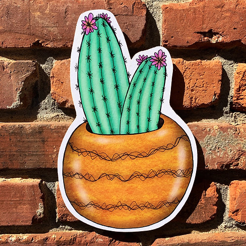 Cacti House Plant Woodcut