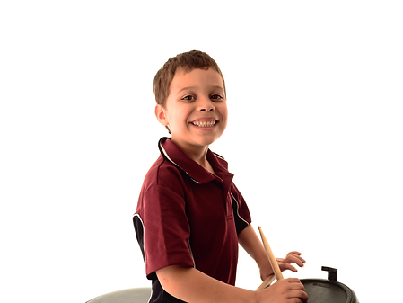 child drum student on electric kit