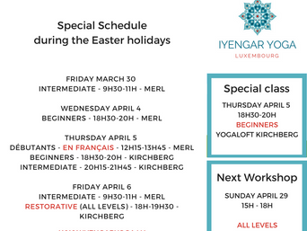 Schedule during the Easter holidays
