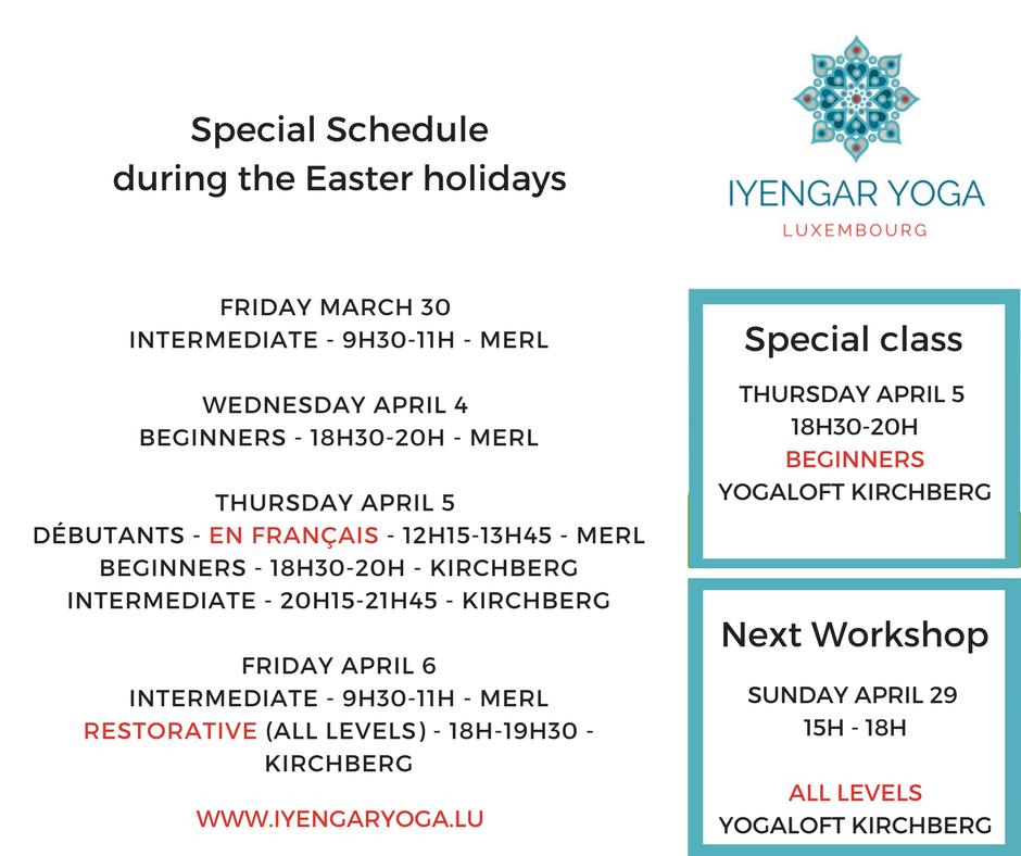Iyengaryoga.lu Easter schedule