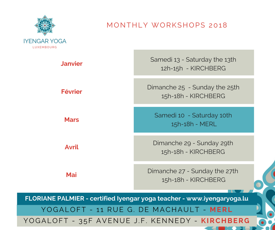 Iyengar Yoga Luxembourg, monthly workshops 2018