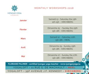 Iyengar Yoga Luxembourg, monthly workshops 2018