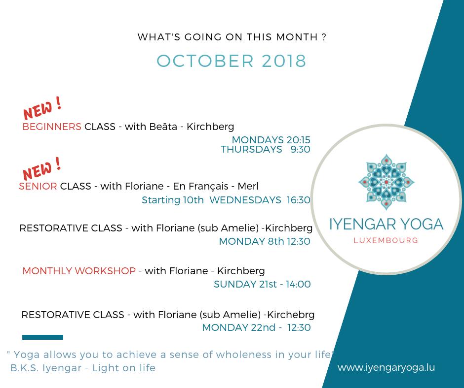 OCTOBER 2018 Iyengar Yoga Luxembourg news