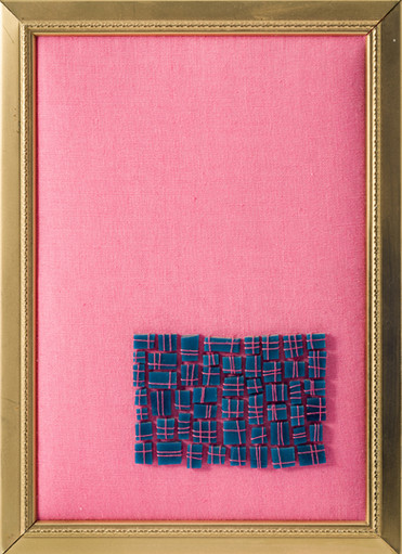 Pink and Blue Sewn Mosaic