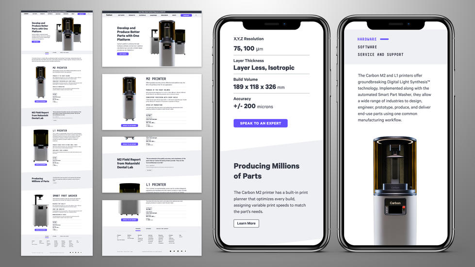 Carbon Products Page High Fidelity Wireframes Sample