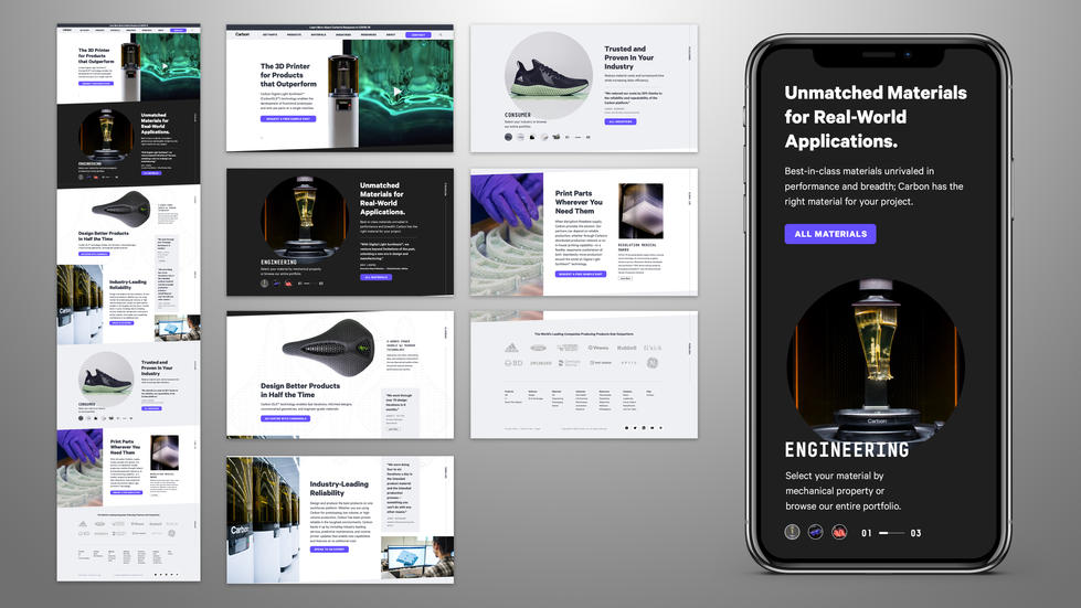 Carbon Homepage High Fidelity Wireframes Sample