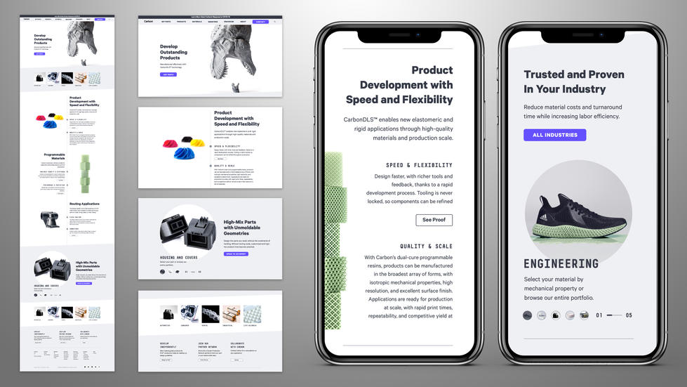 Carbon Industries Page High Fidelity Wireframes Sample