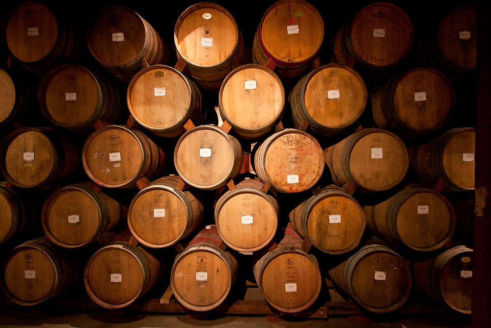 Oak barrels, wine barrels