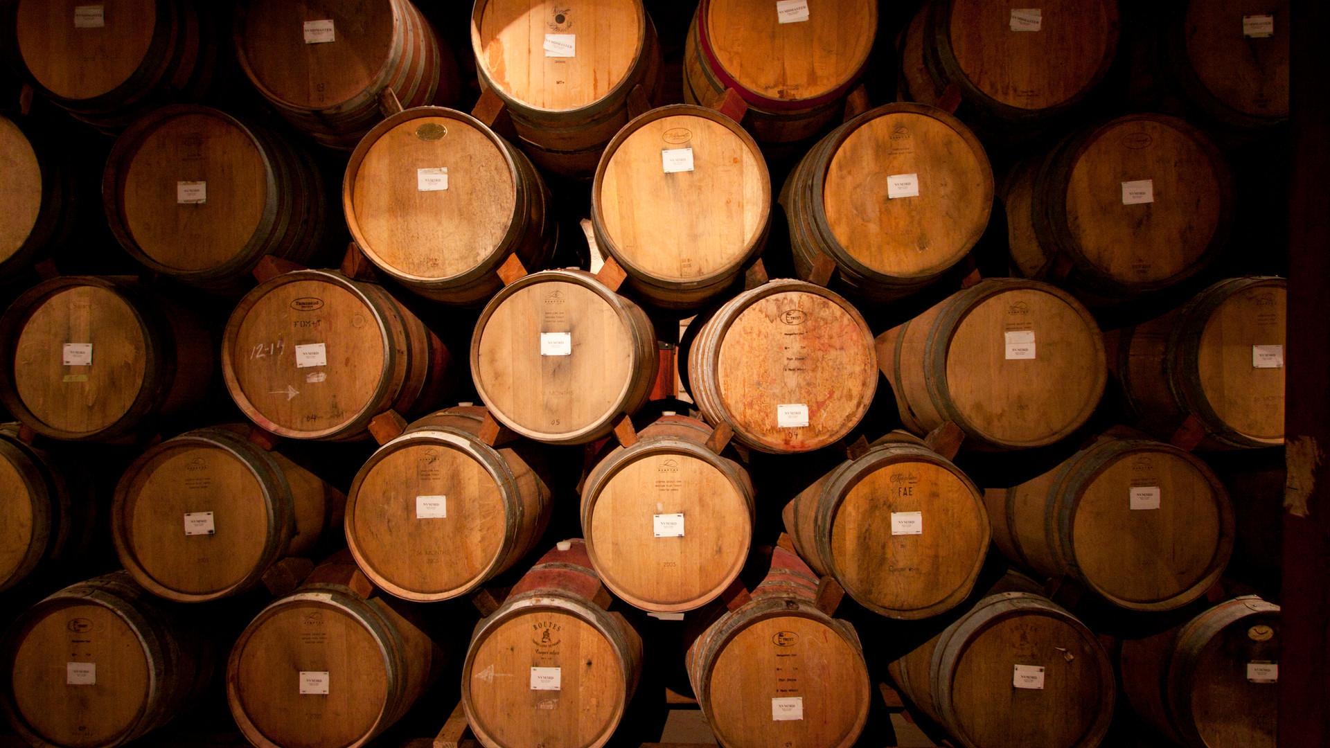 a stack of barrels