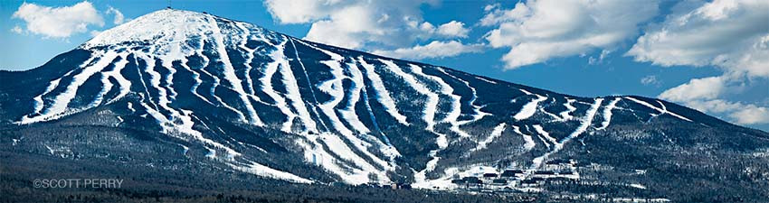 Fresh snow on Sugarloaf Mountain in Carrabassett Valley, Maine