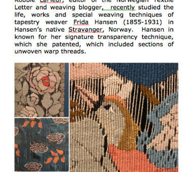 Frida Hansen Lecture in Falmouth, August 5