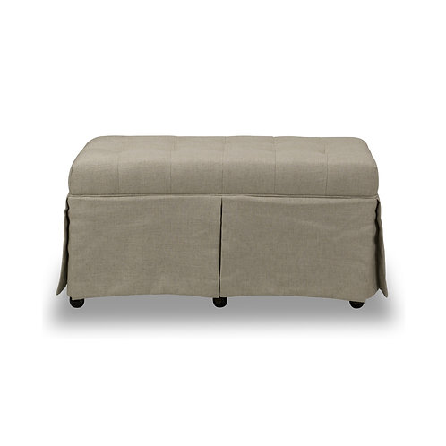 RECTANGULAR BUTTON TUFTED STORAGE OTTOMAN - SHADOW