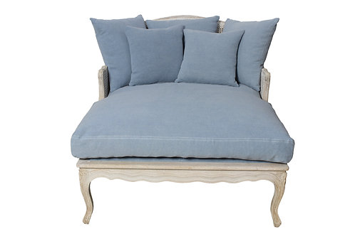 WALLACE SALON CHAIR - STONE GRAY, LIGHT LINEN, DUSTY BLUE