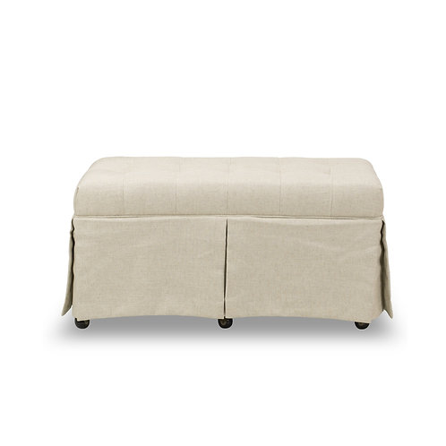 RECTANGULAR BUTTON TUFTED STORAGE OTTOMAN - NATURAL ECRU