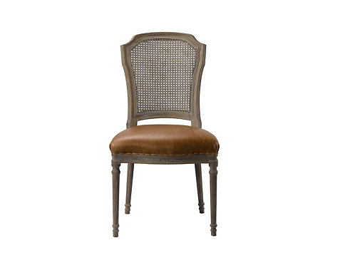 CHELSEA DINING SIDE CHAIR - CHAPS SADDLE, LIGHT LINEN