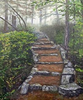 Dipsea Stair in Fog painting.jpg