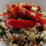 Salmon rice with roasted peppers