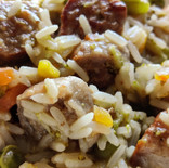 Sausage and rice with a citrus sauce