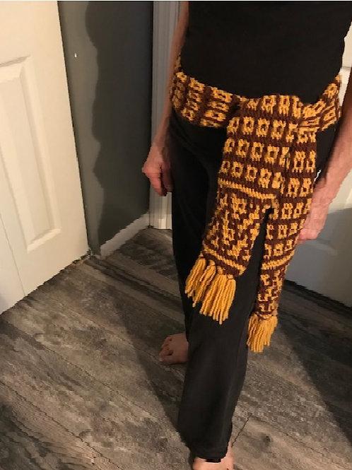 Brown and Mustard Scarf/Belt-6'-Acrylic Mosaic Knitting