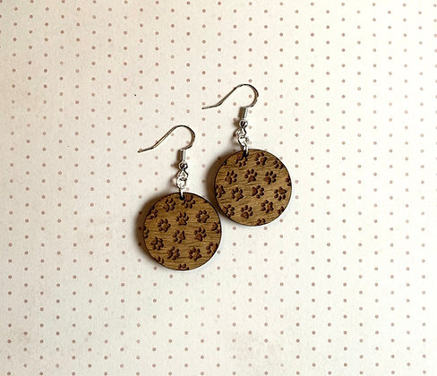 Paw Print Circle Wood Drop Earrings