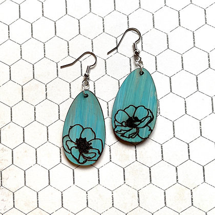 Teal Leather Drop Earrings