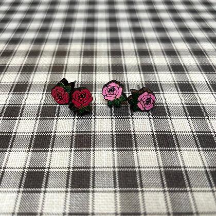 Wood Rose Stud Earrings