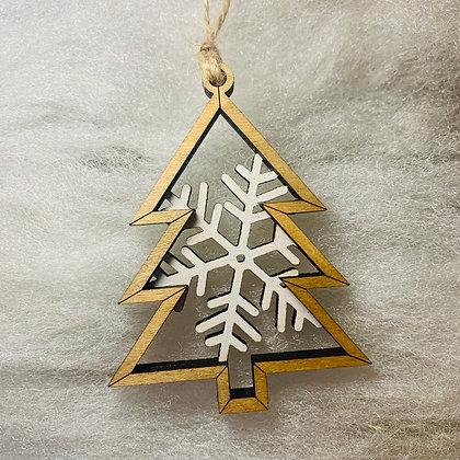 White Single Flake Tree Ornament