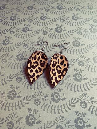 Leopard Leather Drop Earrings