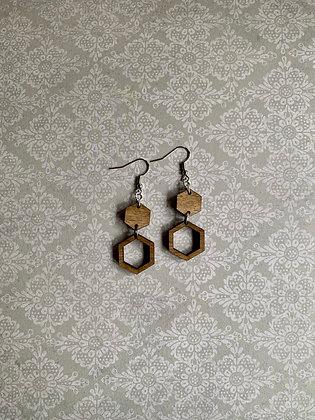 Wood Hexagon Drop Earrings