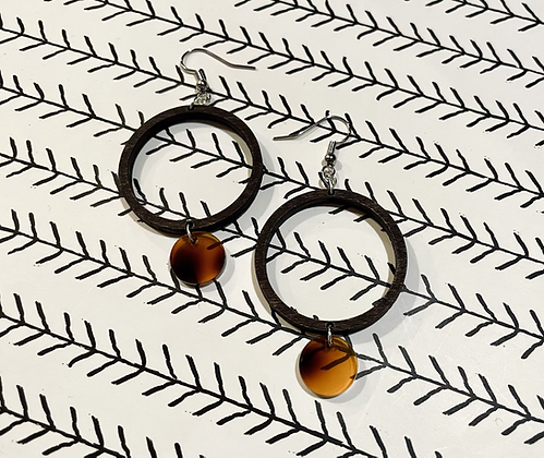 Wood and Tortoise Shell Drop Earrings