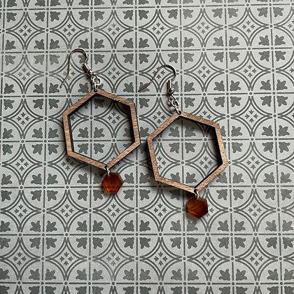 Wood and Tortoise Shell Hexagon Drop Earrings